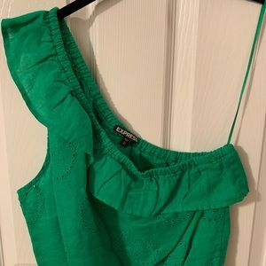 Express One-Shouldered Green Eyelet Top